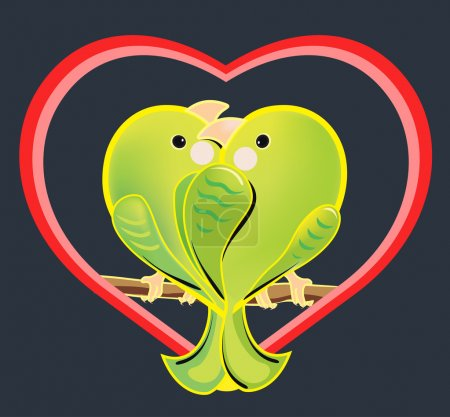 Vector illustration of a love couple of green parrots. The romantic cartoon budgerigars sitting on a branch. Exotic enamored birds in a heart shape on dark background.