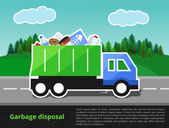 Vector illustration of garbage truck on the way Trash disposal theme with the space for text entry