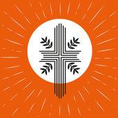 Church logo concept Pentecost Trinity Sunday Christian Holy spirit Jesus God Church sacrament symbol Biblical cross holy spirit Religious logo Vector illustration