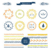 Colorful hand drawn brushes round wreaths frames and decorations Can be used for save the date invitation greeting wedding cards patterns and decor Floral Doodle brush elements