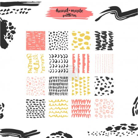 Illustration for Hand drawn textures, template for celebration, invitation, greeting. Hatching drawn seamless, pattern, vector design elements. Set of background texture, points, strokes, ornament in grunge style - Royalty Free Image