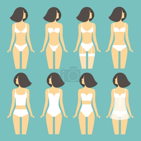 Young woman in different types of lingerie.  vector illustration