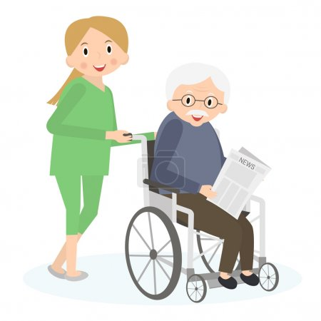Illustration for Handicapped senior man in a wheelchair. Special needs man. Caring for seniors, helping moving around. Elderly care. Vector illustration. - Royalty Free Image
