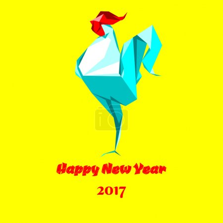 Happy new year rooster origami