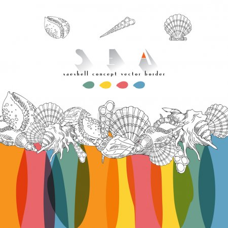 Seashells vector color tropical concept border. Seashells isolated line art illustration with different multicolor spots.