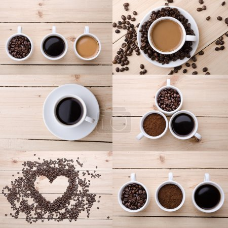 Collage of different coffee details.