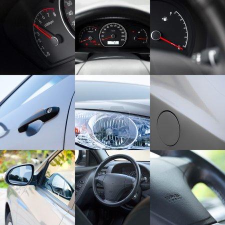 Photo pour Collage de différents détails de voiture.Gros plan - image libre de droit