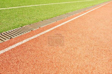 Stadium. Treadmill and football field. Sport and fitness.