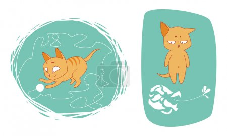Two illustrations of funny kittens