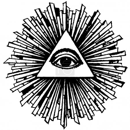 Photo pour L'Œil de la Providence est un symbole représentant un œil souvent entouré de rayons de lumière ou de gloire et généralement entouré d'un triangle . - image libre de droit