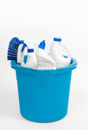 Cleaning supplies in blue bucket
