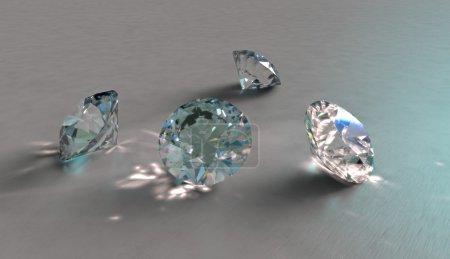 Four sparkling diamonds, crystals or precious ston...