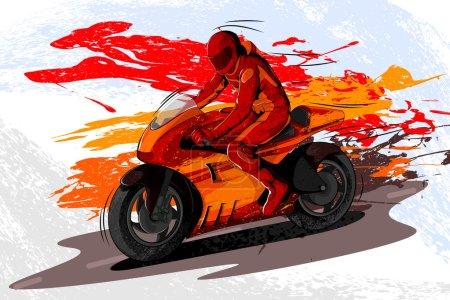 Illustration pour Concept de sportif faisant du sport automobile. Illustration vectorielle - image libre de droit