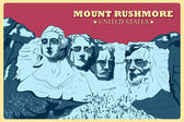 Vintage poster of Mount Rushmore famous monument of United States Vector illustration