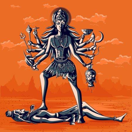 Illustration pour Déesse indienne Kali avec Shiva. Illustration vectorielle - image libre de droit