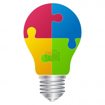 Idea bulb in puzzle form