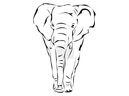 Illustration pour Silhouette isolée de gros éléphant sur fond blanc illustration vectorielle - image libre de droit