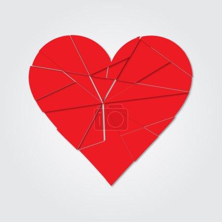 Red heart. Broken heart. Shards of the heart. Icon broken heart.