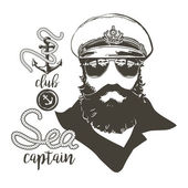 Portrait of captain Beard forage cap sunglasses anchor rope Vector illustration Vintage nautical clubs and bars logo and emblems