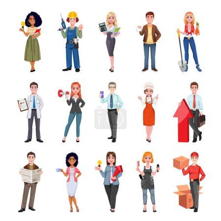 Photo pour Des gens de différentes professions. Diverses professions. Des personnages de dessins animés joyeux. Illustration vectorielle de stock - image libre de droit