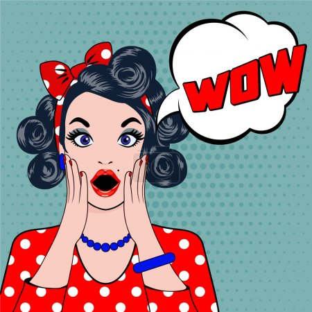 Illustration for Pop art surprised young woman face with open mouth. Vector illustration of wow face. Pop art illustration surprised girl. Woman in Pop Art style with WOW sign. WOW bubble pop art surprised woman face. - Royalty Free Image
