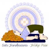 girl in Bridge Pose with mandala background