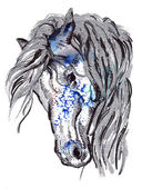 Horse head watercolor and ink illustration