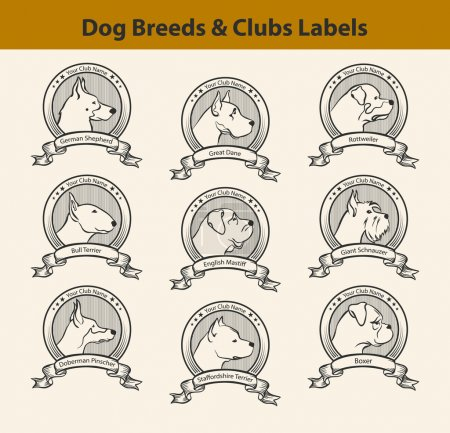 Set of Dog Breeds Labels