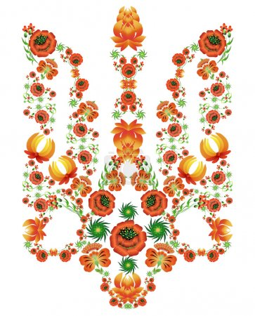 Floral pattern in the form of the coat of arms of Ukraine in the style of painting Petrykivka.