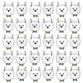 West highland white terrier scetch pattern Can be used like post card background or banner