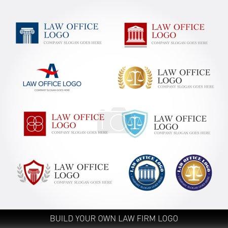 Illustration pour Modèles de conception de logo d'avocat. Logo du cabinet d'avocats. Le juge, modèles de logo de cabinet d'avocats, ensemble d'avocats de la collection d'étiquettes vintage. Logotypes vectoriels . - image libre de droit