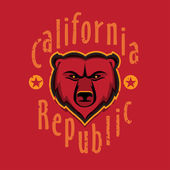 California Republic apparel t shirt fashion design Grizzly Bear Head graphic typographic art ink drawing vector illustration Golden state west coast travel souvenir Wall Decor