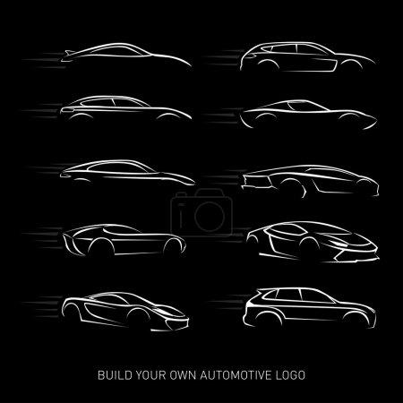 Illustration pour Logotypes de voitures Silhouette - service de voiture et de réparation, ensemble vectoriel. Logos de voitures. Illustrations vectorielles isolées. Version noir et blanc . - image libre de droit
