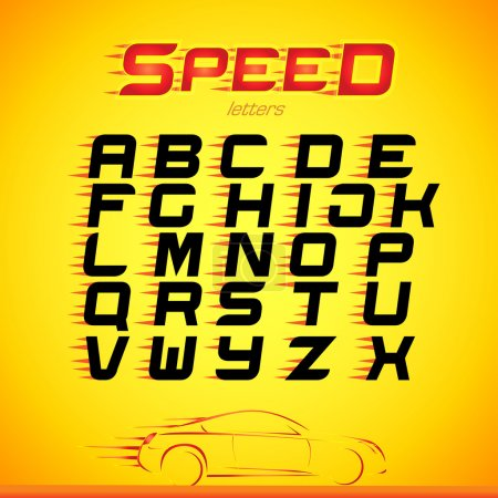Fast speed english alphabet letters