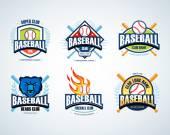 Baseball sport badges logos set
