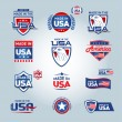 USA and made in USA icons. American made. Set of v...