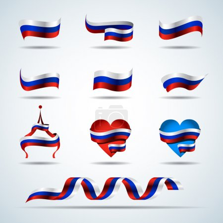 Russia flags, tricolor russian ribbons