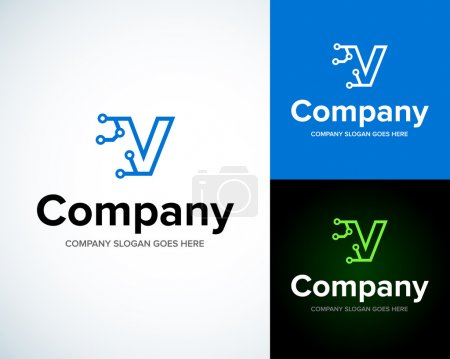 Illustration for Modern stylish logo with letter V. Business Technology vector logotype design template. Creative concept icon. Corporate company identity. - Royalty Free Image