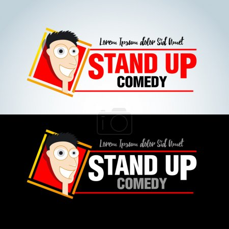Illustration for Stand up comedy logos, badges, emblems. Isolated vector illustrations. - Royalty Free Image