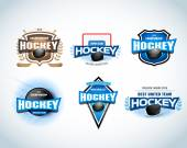 Hockey sport team logotype templates set Hockey team logo template Hockey emblem logotype template t-shirt apparel design Sport badge for tournament or championship