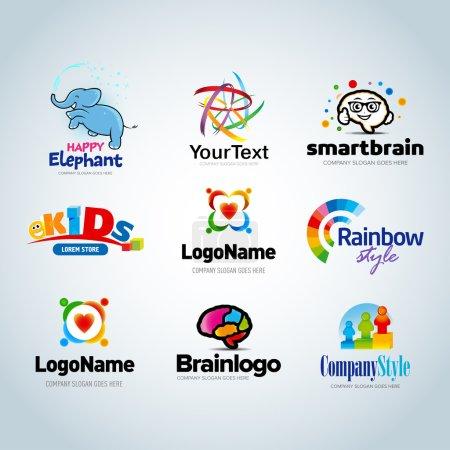 Illustration pour Ensemble de logo coloré, collection de logo, logo d'idée, collection de logo pour enfants, logo de famille, logo des gens, modèle de conception de logo créatif, ensemble de logo écologique, logo du cerveau, modèle de logo vectoriel - image libre de droit