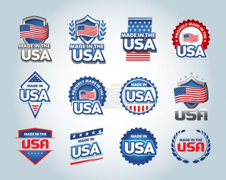 Illustration for USA and made in the USA icons set. American made. Set of vector icons, stamps, seals, banners, labels, logos, badges. Vector illustration - Royalty Free Image