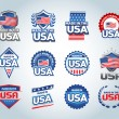 USA and made in the USA icons set. American made. ...