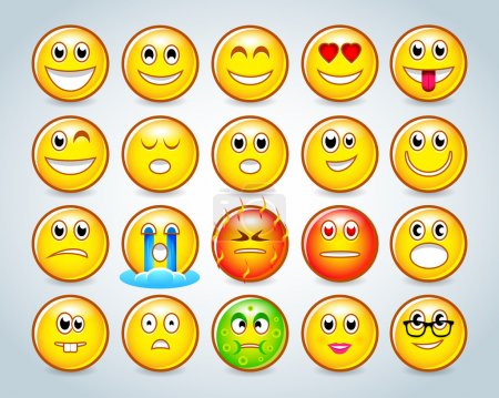 Illustration for Emotional face icons. Vector illustration - Royalty Free Image