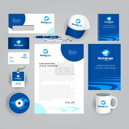 Corporate identity template with horse racing