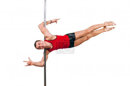 Photo for Young strong pole dance man on white background - Royalty Free Image