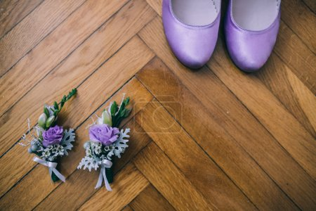 Wedding accessories, shoes and flowers