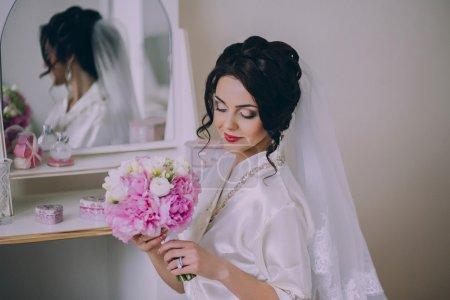 Attractive brunette young bride