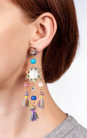 Colorful gems earrings