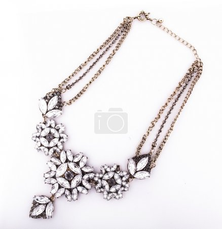 Golden necklace with crystals